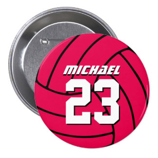 Pink Volleyball Sports Team Button Pin