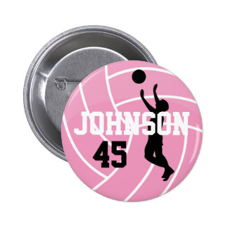 Pink Volleyball with Silhouette Player 6 Cm Round Badge