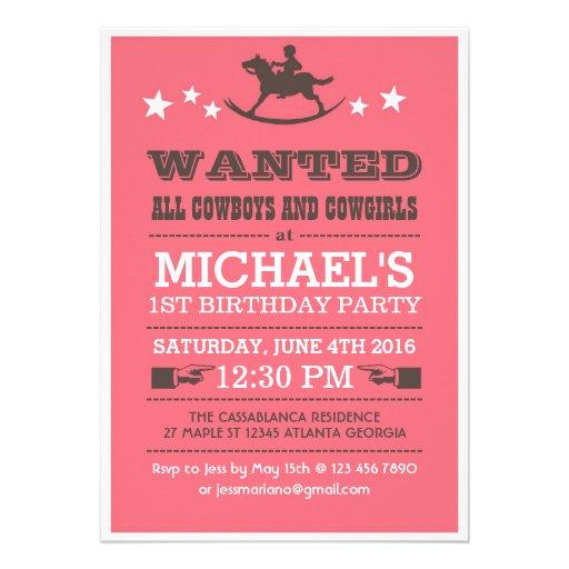 Pink Wanted Western Cowboy Birthday Invitation
