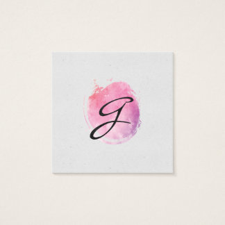 Pink Water Color Monogram Fancy Text Speckled Square Business Card