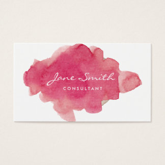 Pink Water Colour Splat Business Card