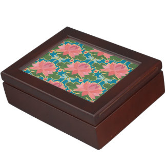 Pink Water Lilies and Dragonflies Keepsake Box