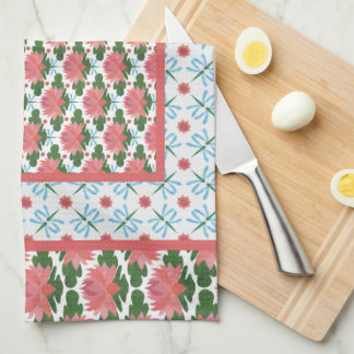 Pink Water Lilies, Blue Dragonflies: Kitchen Towel