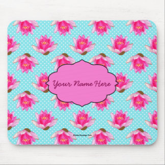 Pink Water Lilies Blue Polka Dots Mouse Pad