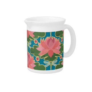 Pink Water Lilies Dragonflies China Pitcher or Jug