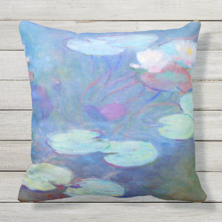 Pink Water Lilies Monet Fine Art Outdoor Cushion