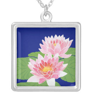 Pink Water Lilies on Blue: July Birth Month Flower Silver Plated Necklace