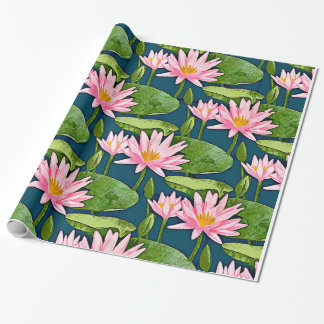 Pink Water Lilies on Dark Blue Pond Wrapping Paper