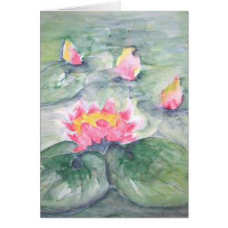 Pink Water Lillies On Blue Pastel Card