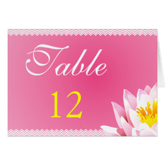Pink Water Lilly & Chevron Table Number Cards