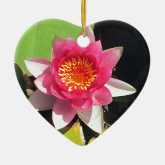 Pink water Lilly photograph Double-Sided Heart Ceramic Christmas Ornament