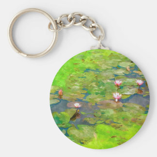 Pink Water Lily And Leaf In Pond Keychain