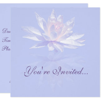 Pink Water Lily and Reflection over Lavender 13 Cm X 13 Cm Square Invitation Card