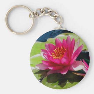 Pink Water Lily Basic Round Button Key Ring