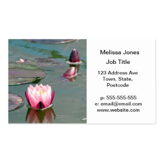 Pink water lily business card template