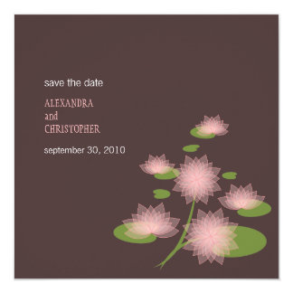 """Pink Water Lily Contemporary Save The Date Wedding 5.25"""" Square Invitation Card"""