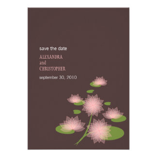 Pink Water Lily Contemporary Save The Date Wedding Invitation
