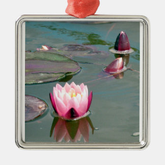 Pink water lily square metal christmas ornament