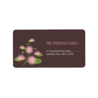 Pink Water Lily Elegant Contemporary Wedding Label