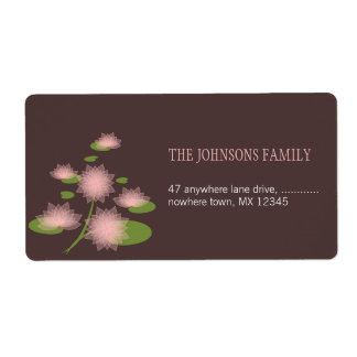 Pink Water Lily Elegant Contemporary Wedding Shipping Label