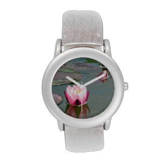 Pink water lily wristwatch