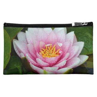 Pink water lily floral print cosmetic bags
