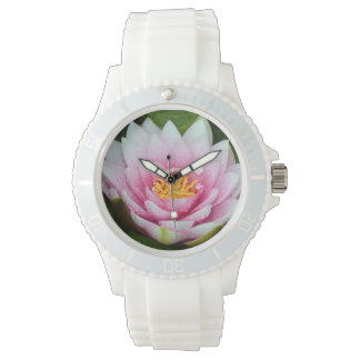 Pink water lily floral print watch