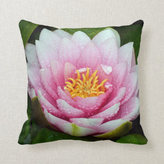 Pink water lily flower cushion