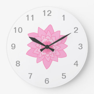 Pink Water Lily Flower. Large Clock