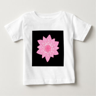 Pink Water Lily Flower on a Black Background. Baby T-Shirt