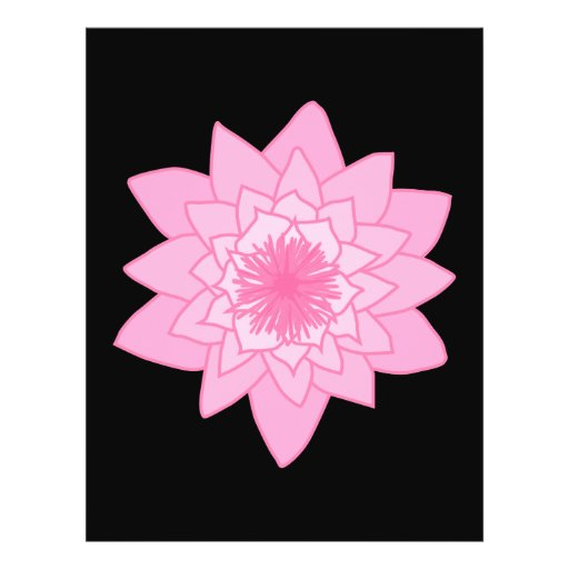 Pink Water Lily Flower on a Black Background. Flyers
