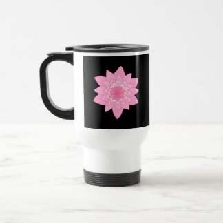 Pink Water Lily Flower on a Black Background. Travel Mug