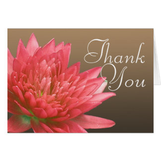 Pink Water Lily Flower Photo Chic Floral Thank You Card