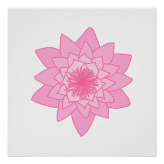 Pink Water Lily Flower. Print