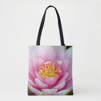 Pink water lily flower tote bag