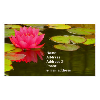 Pink Water Lily on Pond Customizable Pack Of Standard Business Cards