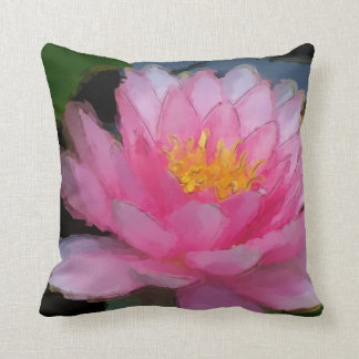 Pink Water Lily Painting Room Decor Pillow