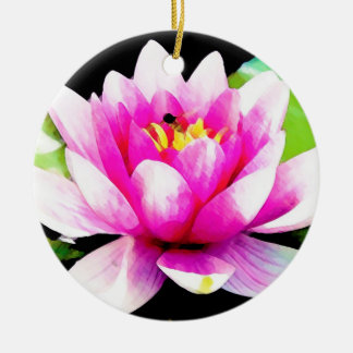 Pink water lily round ceramic decoration
