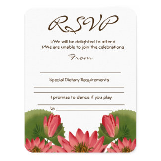 Pink Water Lily RSVP Card