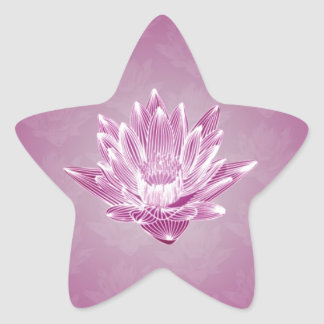 Pink Water Lily Star Sticker
