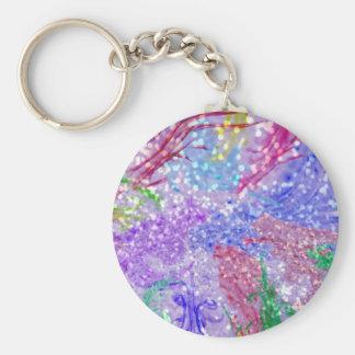 Pink Watercolor Abstract Glitter Photo Print Key Ring