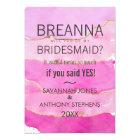 Pink Watercolor and Gold Bridesmaids Invitations