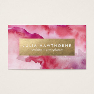 Pink Watercolor and Gold Faux Foil Business Card