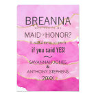 Pink Watercolor and Gold Maid of Honour Card