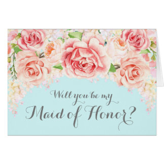 Pink Watercolor Baby Blue Maid of Honour Invite Card