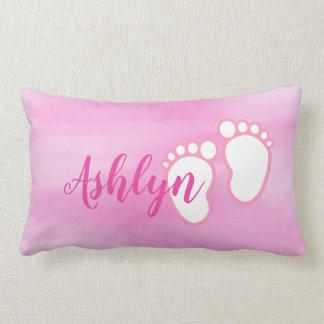 Pink Watercolor Baby feet Footprint Personalised Lumbar Cushion