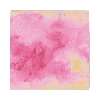 pink watercolor background for your wood coaster