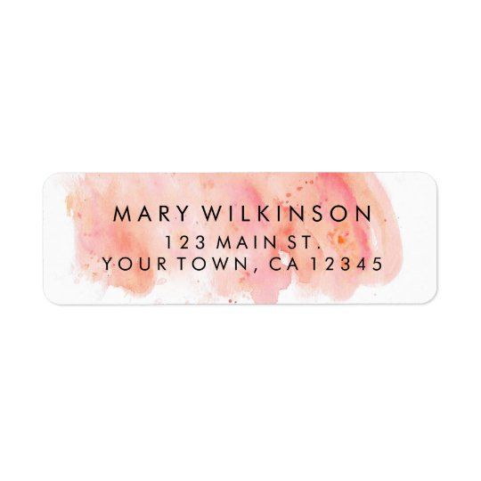 Pink Watercolor Background Return Address Labels