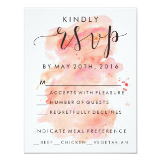 Pink Watercolor Background RSVP Invitation Card