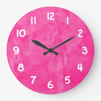 Pink Watercolor Background Wallclock